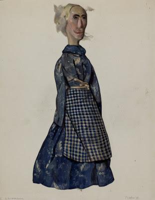 Th Century Doll Blue Duffle Coat Glass Eyes