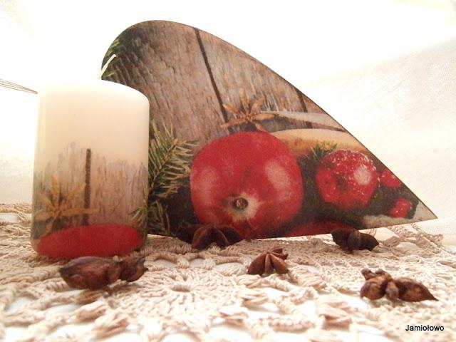 ozdoby świąteczne wykonane techniką decoupage'u