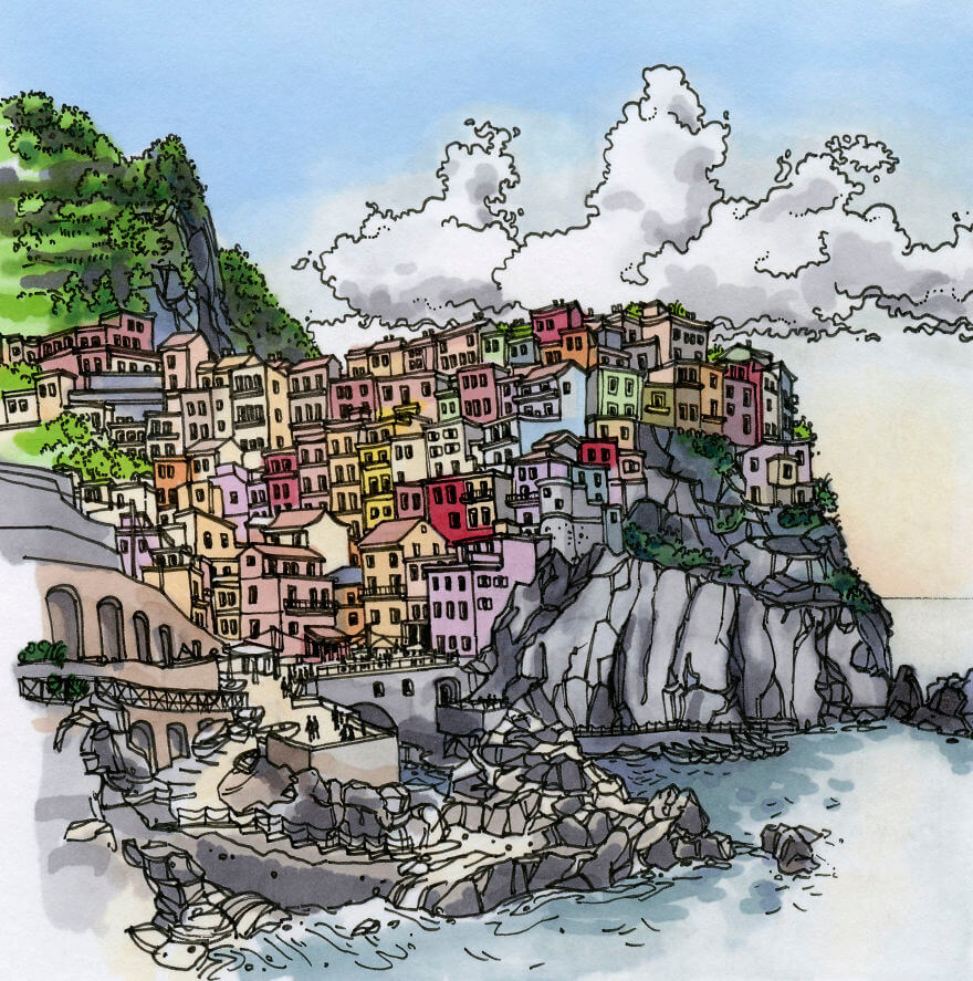 13 Artistic Illustrations Of Famous Places Around The World - Manarola, Cinque Terre (Italy)