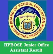 HPBOSE Junior Office Assistant Result