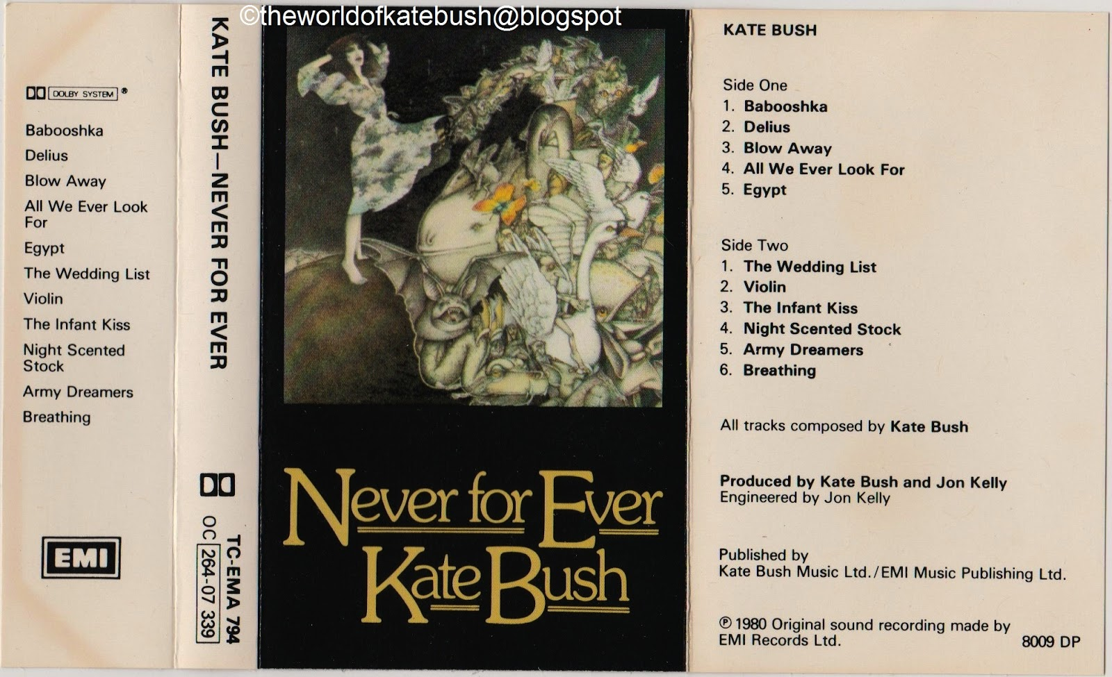 THE WORLD OF KATE BUSH: Never For Ever - UK First Issue Cassette