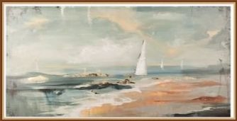 Large Abstract Coastal Painting with Sailboat