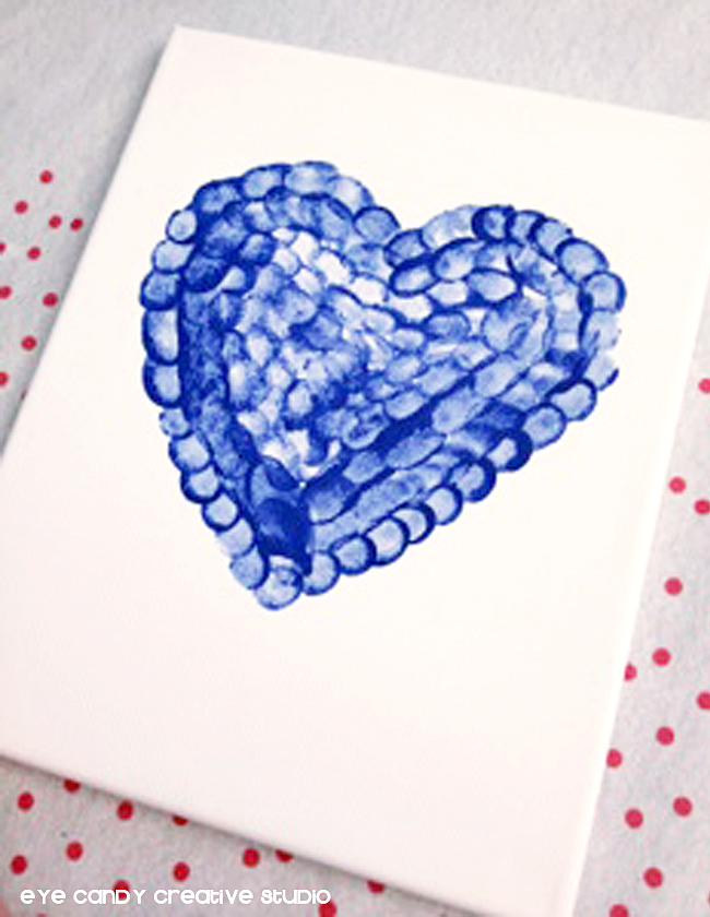 heart shaped thumbprints, canvas art, how to make thumbprint art