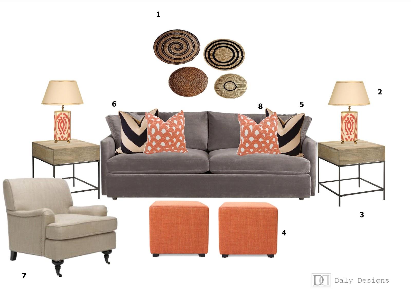 Living Room Design Board Pops Of Orange