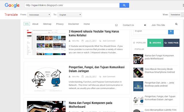 Cara memasang Widget Google Translate pada Blog