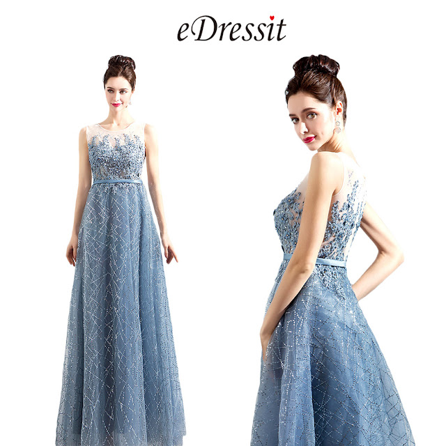 New Grey-Blue Elegant Emboridery Sparkle Formal Dress