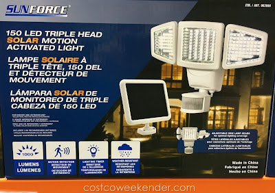 Ensure your home is well lit anjd more secure with the SunForce 150 LED Triple Head Solar Motion Activated Light