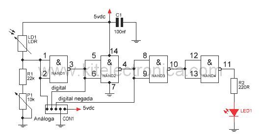 Módulo sensor de luz y oscuridad diagrama.