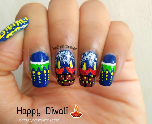 Nailart Inspired by Diwali Diya and Toran | Diwali Nailart #2