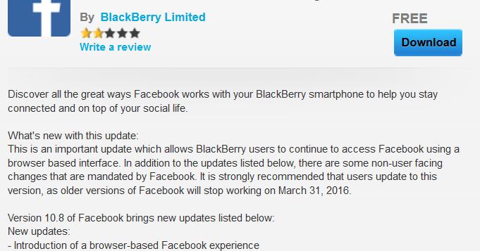 Mandatory update to BlackBerry's Facebook app turns it into