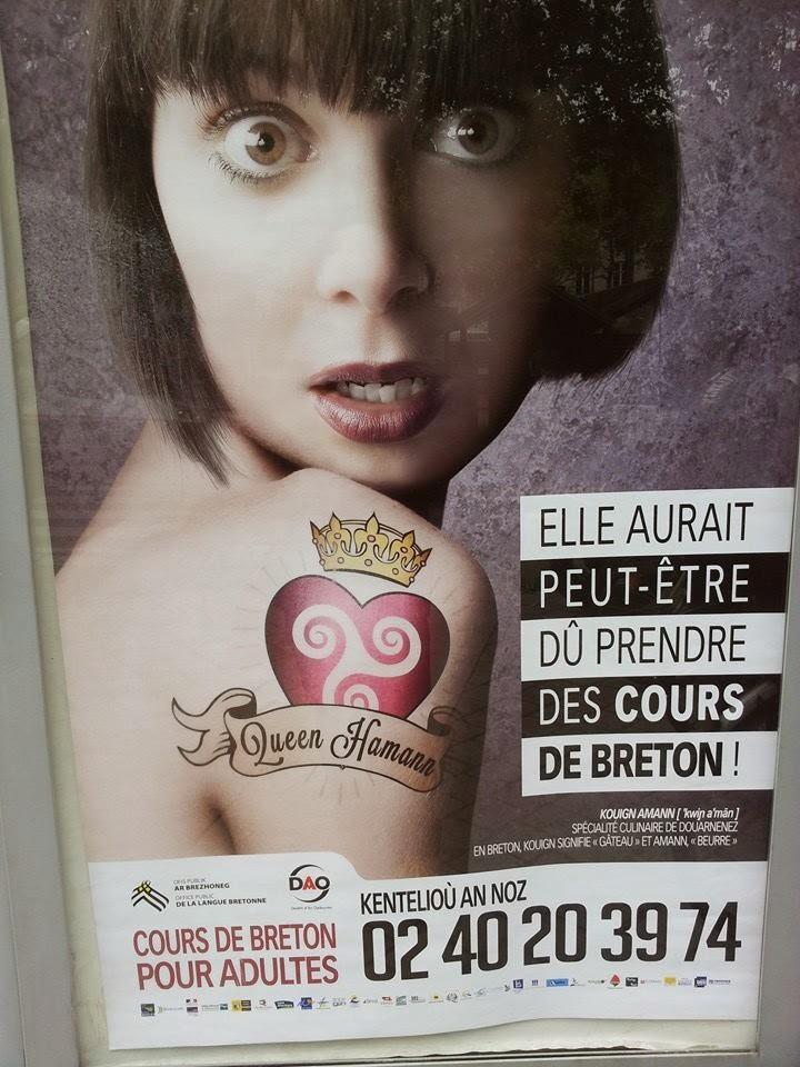 Affiche humour - Promotion Cours de breton Nantes Loire Atlantique - Kentelioù an noz