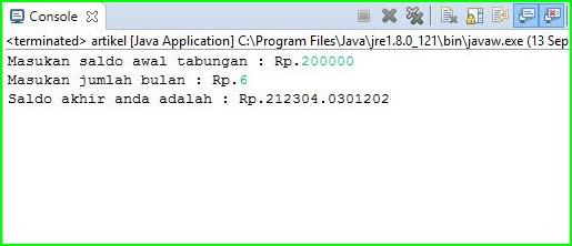 Program Java - Menghitung Bunga Majemuk 1% Per Bulan