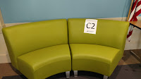 Green, two sectioned seating