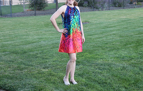 Final version of sundress made from McCall's M7405 in colorful fabric.