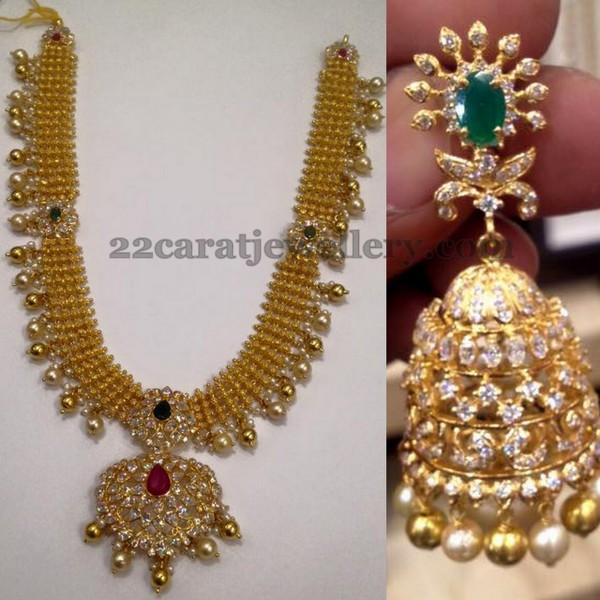 Gold Necklace Cz Trendy Jhumka Jewellery Designs