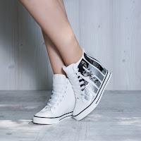Sneakers dama Midge albi cu platforma ascunsa • modlet