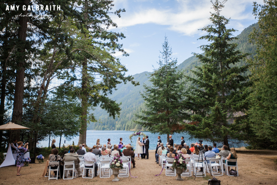 panoramic view of wedding ceremony at lake crescent in olympic national park