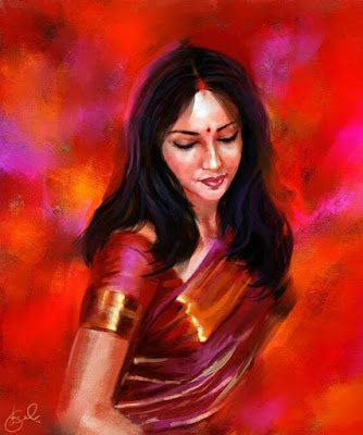 The Woman In Red - Stunning Artwork By Famous Indian Artist Mr. Sen.