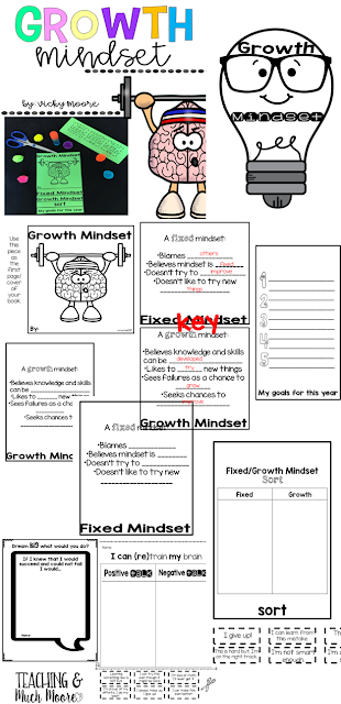 growth mindset printables, craftivity, ideas to implement into your classroom