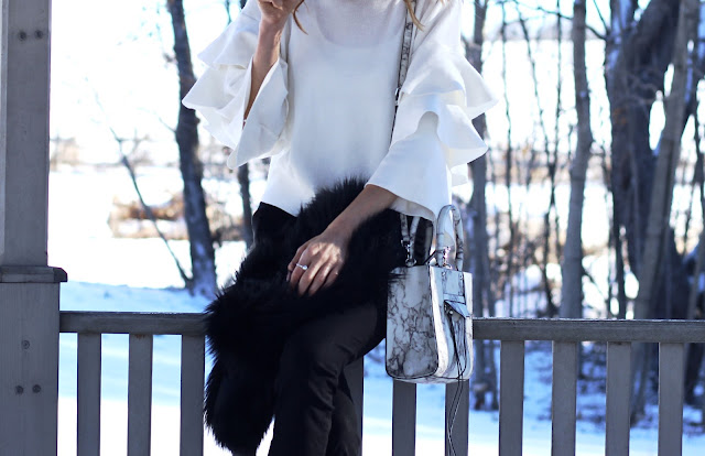 Chicwish White Knit Top with Tiered Frilling Sleeves, Rebecca Minkoff marble bag, Winter Statement sleeve style- Pastels & Pastries