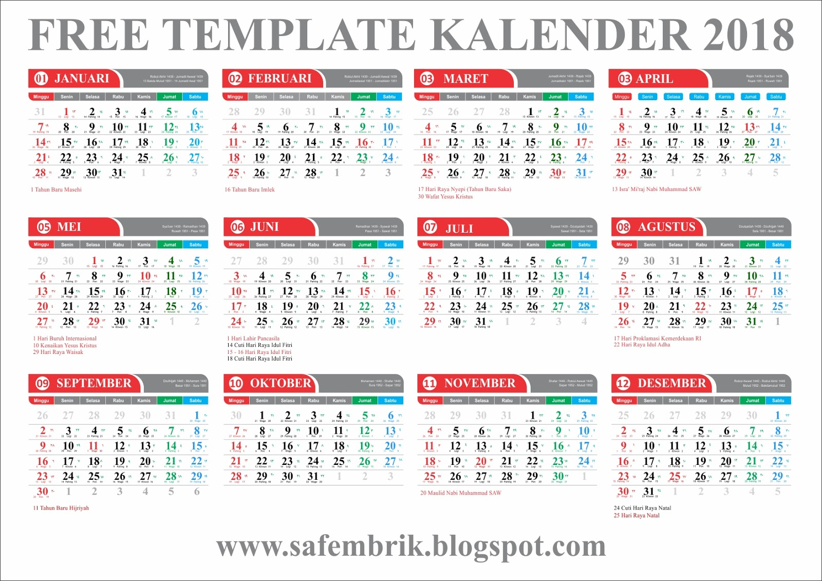 Download Gratis Free Template Kalender 2018 Lengkap ...