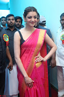 Kajal Aggarwal in Red Saree Sleeveless Black Blouse Choli at Santosham awards 2017 curtain raiser press meet 02.08.2017 006.JPG