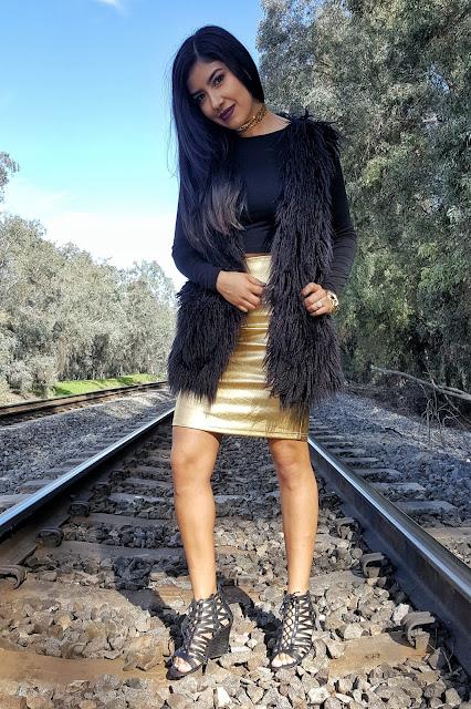 Black Fur Vest Outfit