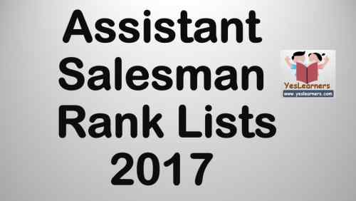 Assistant Salesman Rank Lists 2017