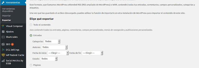 Exportar contenido de Wordpress a blogger
