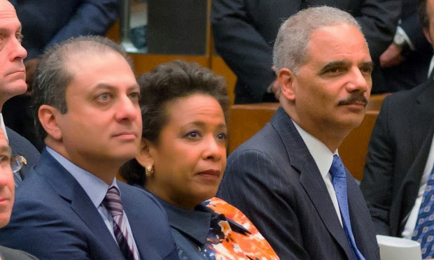 Preetinder Bharara, Loretta Lynch, Eric Holder