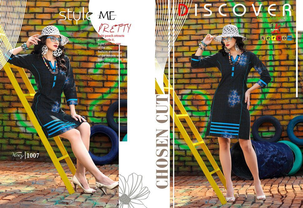 Vency New Arrival Denim Look Cotton Kurtis Collections only 399