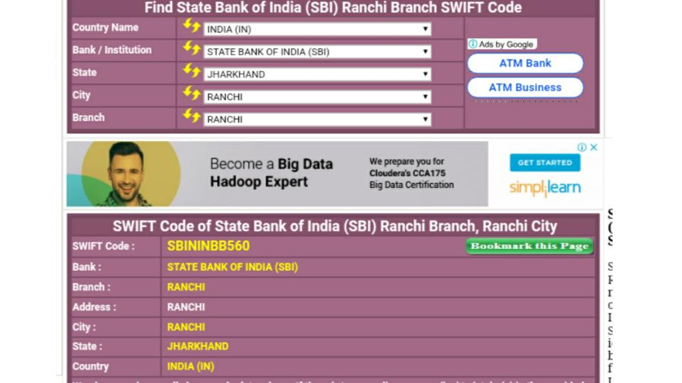 swift-code-of-sbi-ranchi