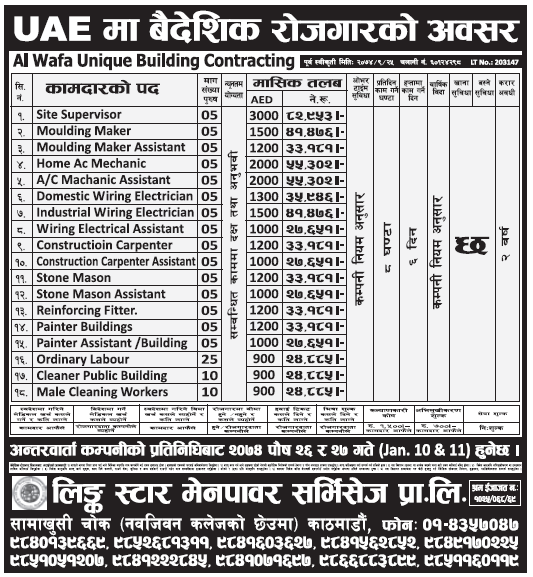 Jobs in UAE for Nepali, Salary Rs 82,953