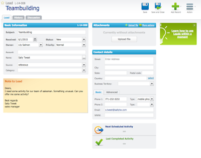 Screenshot Detailansicht Lead in RAYNET Cloud CRM