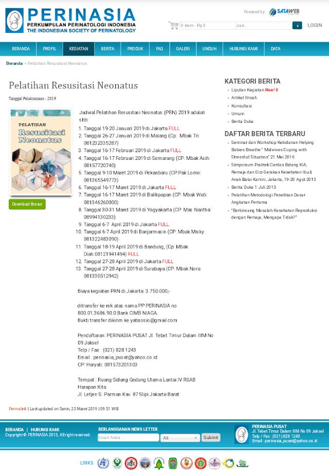 Pelatihan Resusitasi Neonatus 2019-PERINASIA (27-28 April 2019) Jakarta