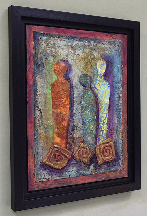 Spirals, figures, copper and crackle painting