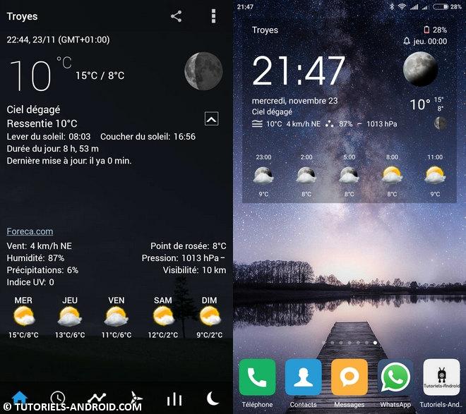 App Android : Transparent horloge et météo