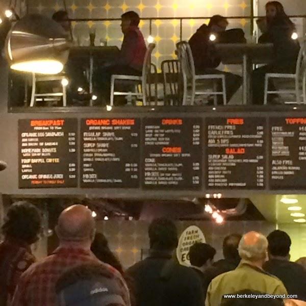 indoor menu at Super Duper Burgers in downtown San Francisco