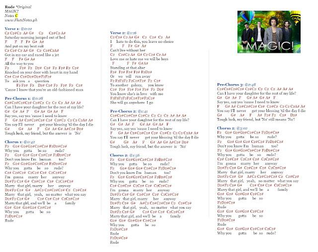 Notasi Lagu Rude Magic