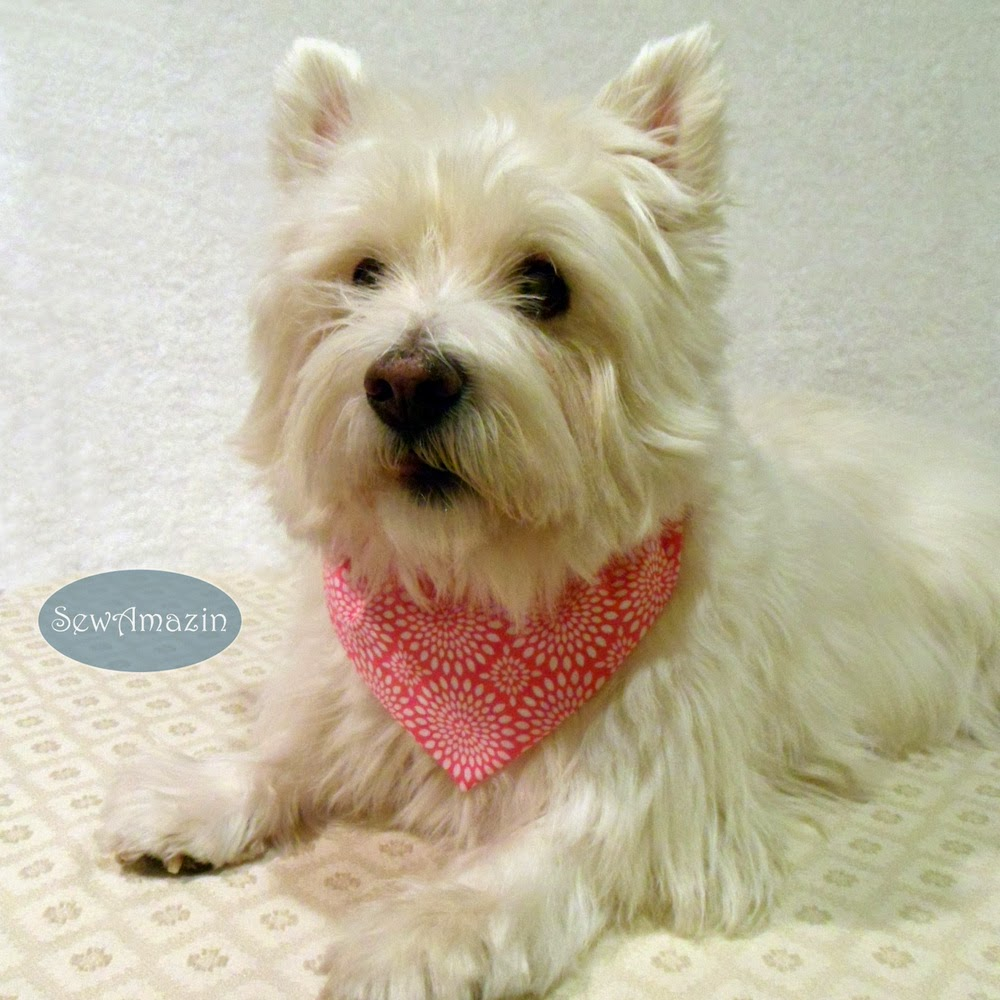 Pink and White Floral Medallions Dog Bandana