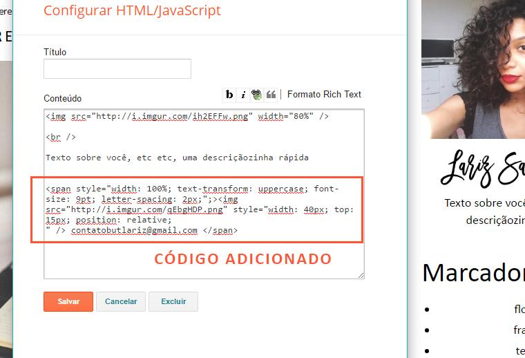 Email de contato na barra lateral do blogger