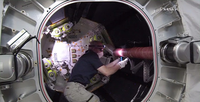 Astronaut Jeff Williams works inside the Bigelow Expandable Activity Module. Credit: NASA TV