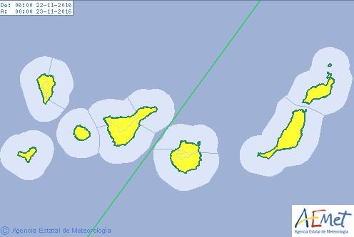 Las islas Canarias en aviso amarillo por viento, martes 22 de noviembre