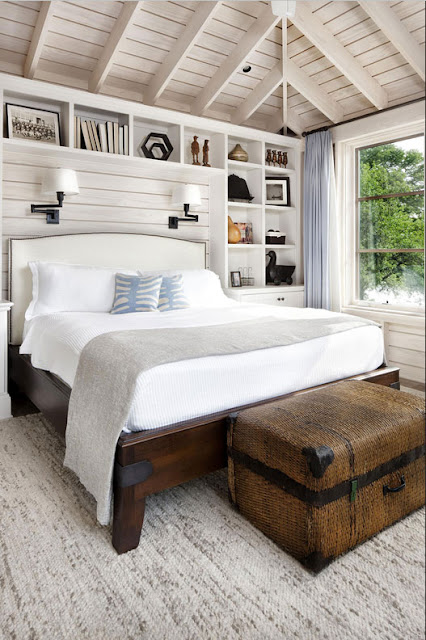 Rustikale-schlafzimmer-weiß-Design-mit-Teppichboden