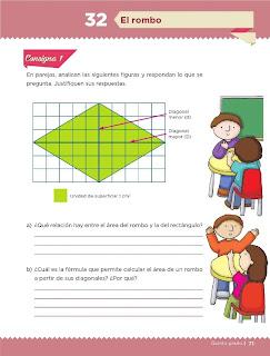 Apoyo Primaria Desafíos Matemáticos 5to. Grado Bloque II Lección 32 El rombo