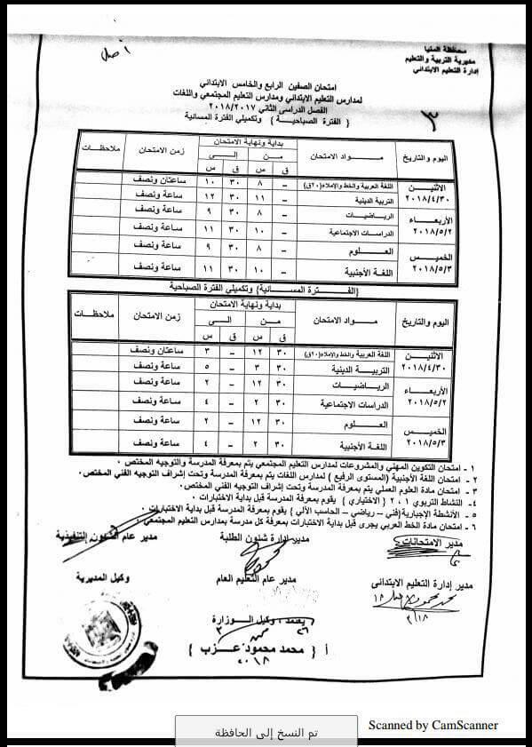 جدول امتحانات الصف الخامس الابتدائي 2018 الترم الثاني محافظة المنيا