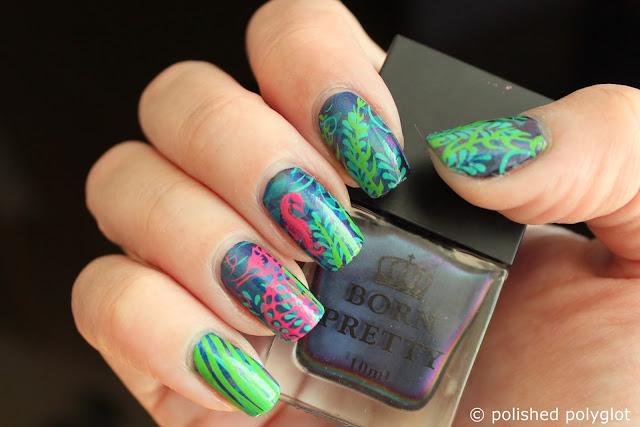 Nail art layered stamping marine landscape