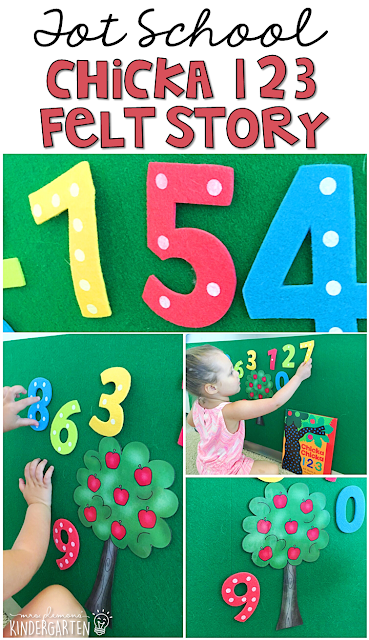 Chicka Chicka 123 is such a fun story for practicing retelling. We love making our felt numbers climb then fall out of the apple tree. Perfect for tot school, preschool, or even kindergarten.
