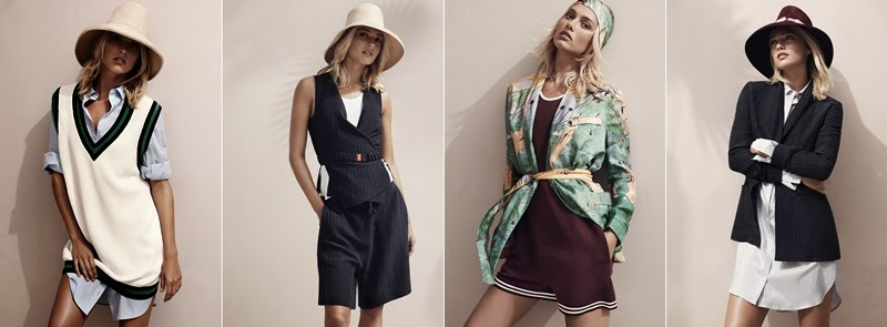 H&M Studio for Spring / Summer 2015, Glamorous & Laid-Back Life, Draped pyjamas jacket, matching pants, fluid pyjama wrap jacket, printed shorts, wide flared jeans, oversized sleeveless tennis shirt, cutaway-backed tank, scarf-cut draped dresses, jumpsuits, rompers, front-print T-shirts, suede miniskirt, tie-dyed hem, bandeau bikini