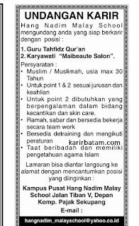 Lowongan Kerja Hang Nadim Malay School